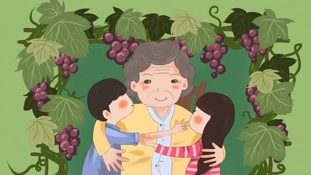 Original illustration of a little boy and girl accompanying grandma under the grape rack, Grape Rack, Grape, Milkmaid illustration image