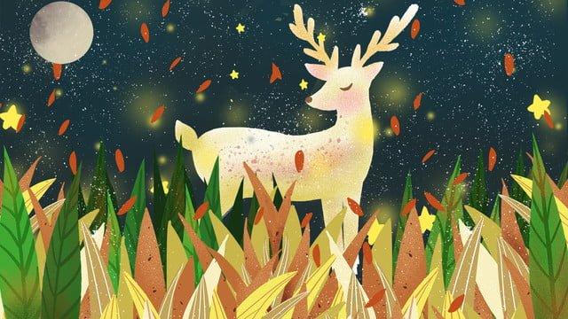 鹿と静かな夜の森 イラスト素材 イラスト画像