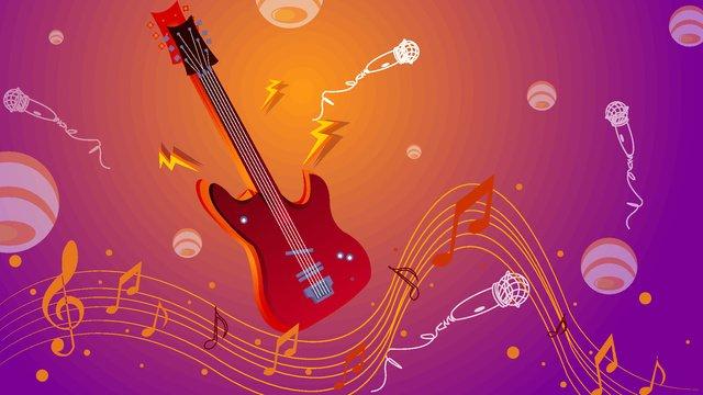 ciptaan kecerunan cecair kreatif ilustrasi gitar rhythm imej keterlaluan
