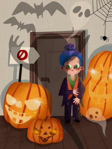 Halloween party night girl standing in front of the door illustration, Halloween, Carnival, Girl illustration image