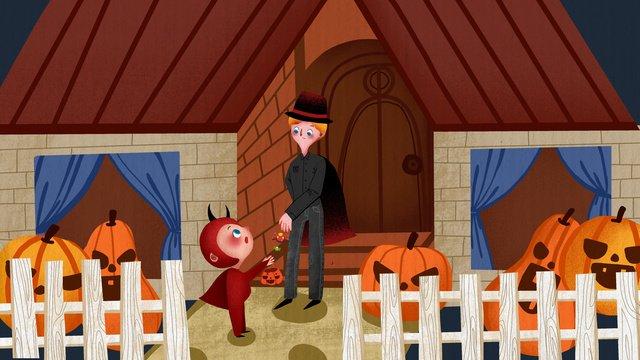 halloween carnival night kids chat candy minh họa dễ thương Hình minh họa Hình minh họa