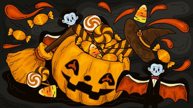 halloween carnival night doodle style pumpkin broom with candy llustration image illustration image