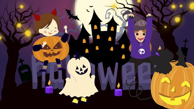 mysterious halloween little devils carnival night llustration image illustration image