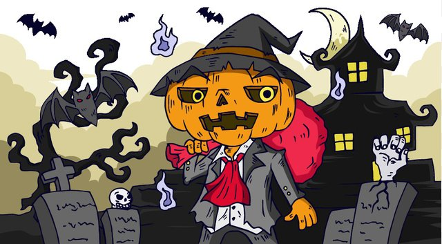 Halloween cartoon dark pumpkin tombstone castle bat llustration image illustration image