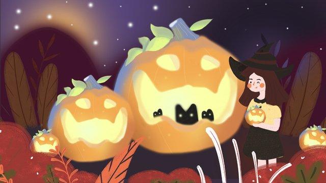 Minh họa gốc ánh sáng bí ngô halloweenHalloween  Lễ  Hội PNG Và PSD illustration image