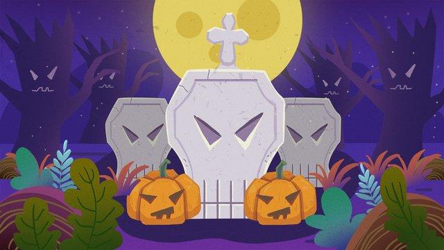 Halloween đêm bia mộ minh họa bí ngôHalloween  Đêm  Halloween PNG Và PSD illustration image