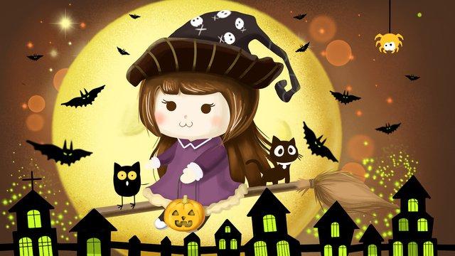 halloween에 귀여운 작은 마녀 삽화 소재