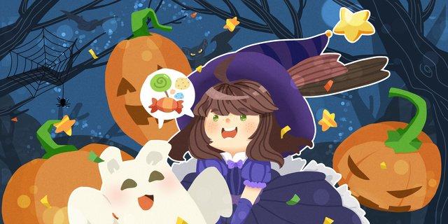 ハロウィーンの小さな魔女ゴーストカボチャはウズラに砂糖を与えません イラスト素材 イラスト画像