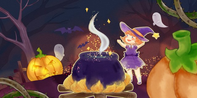 Halloween witch magic and pumpkin, Halloween, Little Witch, Pumpkin Lantern illustration image