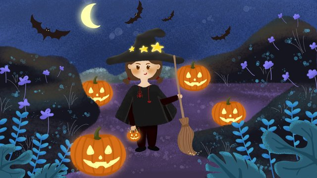 original halloween night pumpkin light girl illustration llustration image