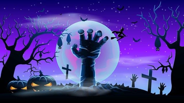 halloween carnival night outstretched grave hand llustration image illustration image