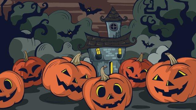 Halloween pumpkin castle doodle illustration llustration image illustration image