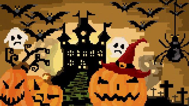 Halloween night pumpkin lights ancient castle retro pixel llustration image