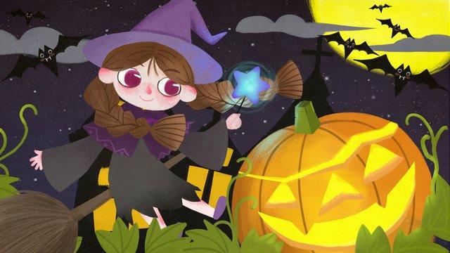 Cute girl halloween illustration, Halloween, Pumpkin Lantern, Bat illustration image