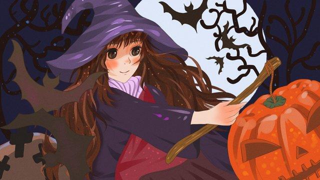 ハロウィーンのためのカボチャのランタンを保持している美しい小さな魔女 イラスト素材 イラスト画像