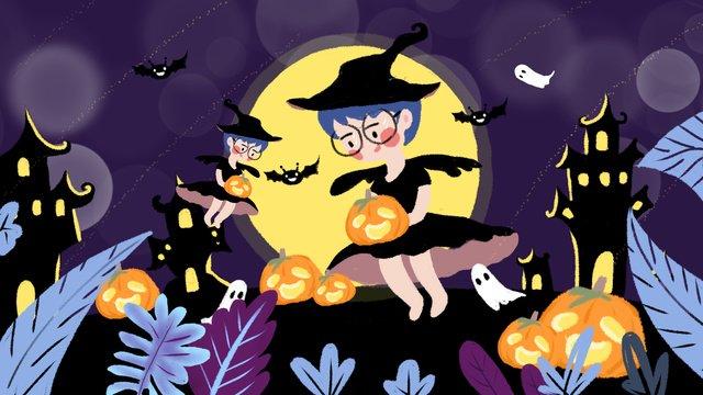 minh họa gốc   halloween pumpkin light witch Hình minh họa Hình minh họa