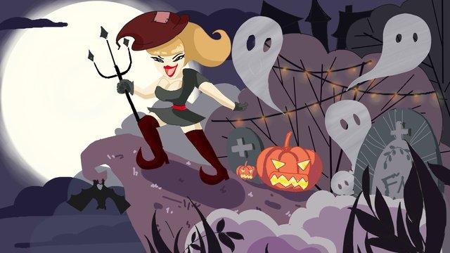 halloween horror witch night cliff llustration image illustration image