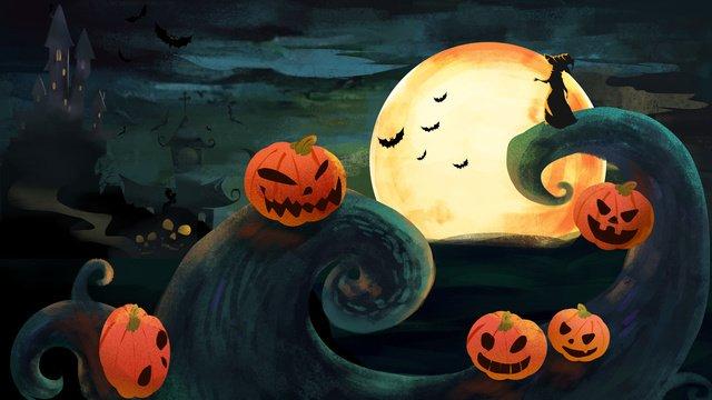 月明かりの下でハロウィーン イラスト素材
