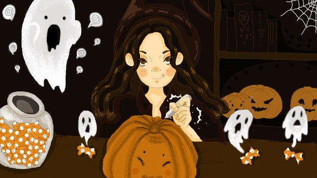 Original illustration halloween girl with ghost and pumpkin dayHalloween  Bí  Ngô PNG Và PSD illustration image