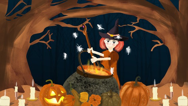 Halloween witchs magic pot, Halloween, Witch, Halloween Witch illustration image