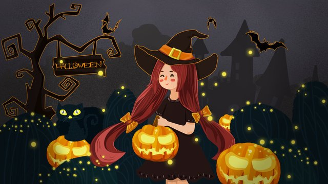 red long hair witch pumpkin lantern night tour dark forest castle halloween llustration image