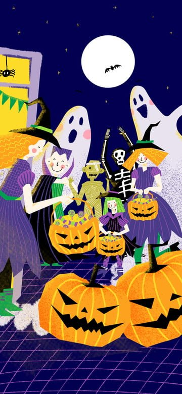 Cute halloween witch asking for candy scene illustration, Halloween, Witch, Vampire illustration image