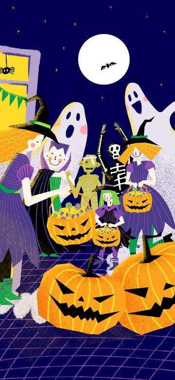 사탕 장면 일러스트를 요구하는 귀여운 할로윈 마녀 삽화 소재