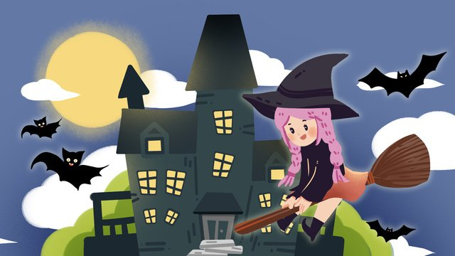halloween sorcerer witch bat candy pumpkin illustration hand drawn late at night llustration image illustration image