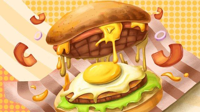 Hamburger delicious seductive food illustration, Hamburger, Seductive, Food illustration image