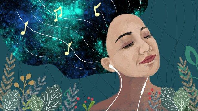 流光溢彩聽音樂的女孩夢幻星空仙境綠葉 插畫素材 插畫圖片