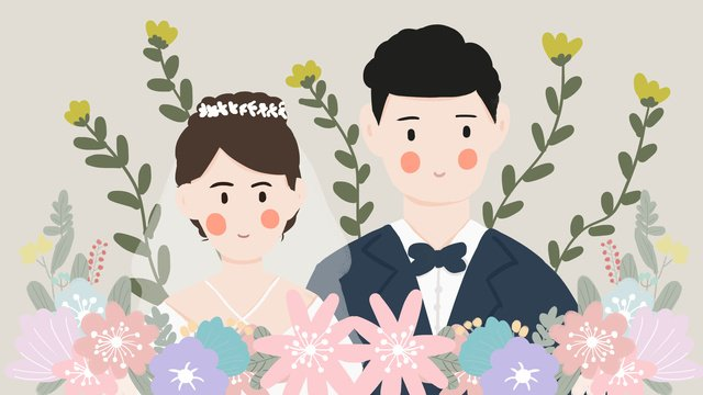 wedding invitation romantic couple married newcomer flat wind llustration image illustration image