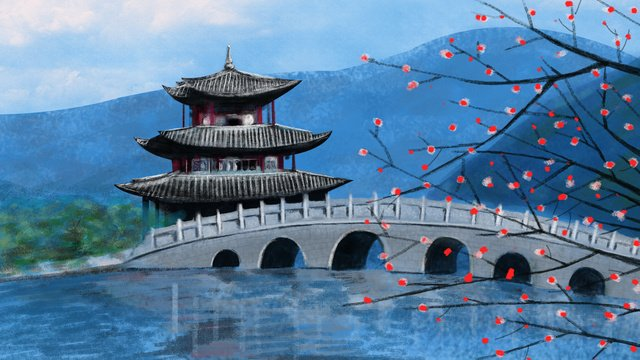Hand painted ancient architecture lake light mountain color bridge side pavilion llustration image illustration image