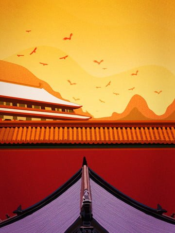 Retro realistic landscape map of the november palace wall autumn scenery, Hand Painted, Realistic, Beautiful Sunset illustration image