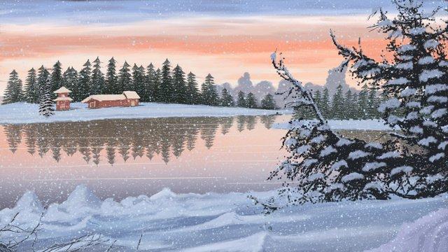 손으로 그린 현실적인 풍경 아름 다운 저녁 눈 덮인 동지 삽화 소재