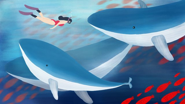 Original deep sea whale fish group swims the ocean to cure hand-painted, Hand Painted, Whale, Deep Sea illustration image