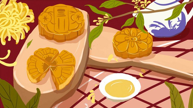 mid autumn festival moon cake ilustrasi asli imej keterlaluan