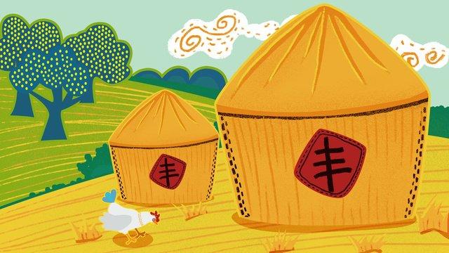 中國首屆農民豐收節描邊插畫 插畫素材