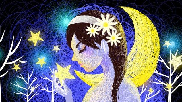 美しい癒しの星空少女コイル図 イラスト素材