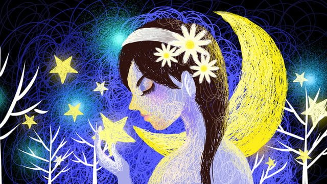 Beautiful healing starry girl coil illustration, Healing Coil Illustration, Coil Illustration, Night Sky Coil Illustration illustration image
