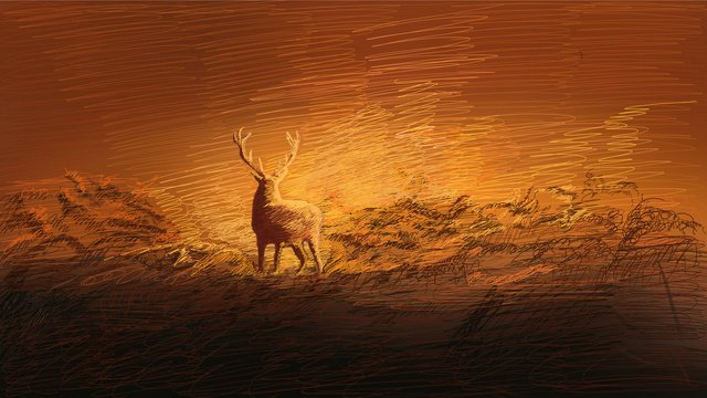 癒し系コイル印象林と鹿 イラスト素材