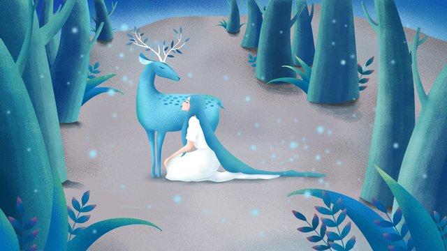 사슴과 소녀를 깊이 볼 수있는 숲을 치료하는 오리지날 수공예 일러스트 삽화 소재 삽화 이미지