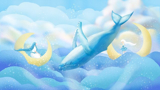 Original hand-painted illustration to heal the sea and whale, Healing, Cure, Sea And Whale illustration image