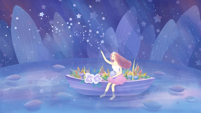 Healing cure Starry sky ferry, Girl, Flower, Plant illustration image