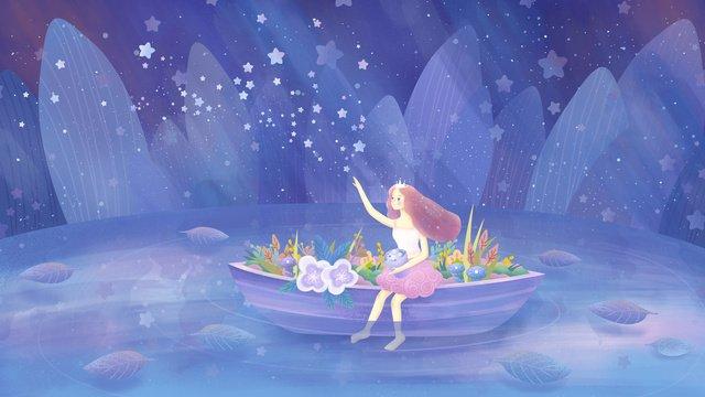 original hand painted illustration healing girl sitting on the boat looking at sky llustration image illustration image