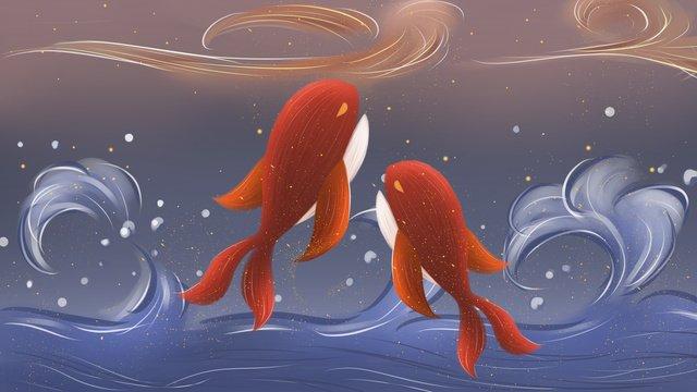 치유 시스템 그림 깊은 바다 고래 삽화 소재