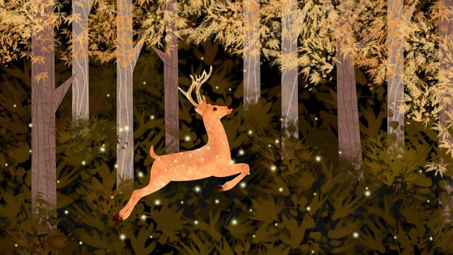 Healing the deer running in forest at night, Healing, Deer, Firefly illustration image