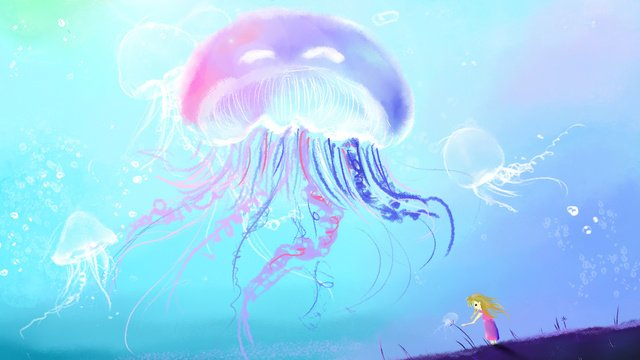 Healing dream romantic Beautiful, Jellyfish, Color, Transparent illustration image