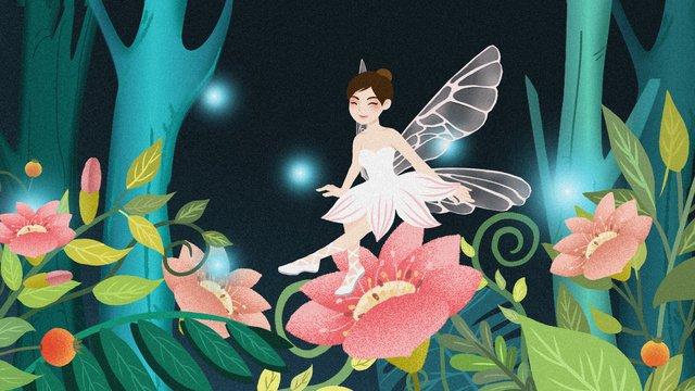 癒しのファンタジー森林植物の花のエルフの図 イラストレーション画像 イラスト画像