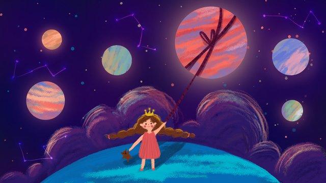 꿈꾸는 하늘 손으로 그린 그림에서 치유 소녀 삽화 소재
