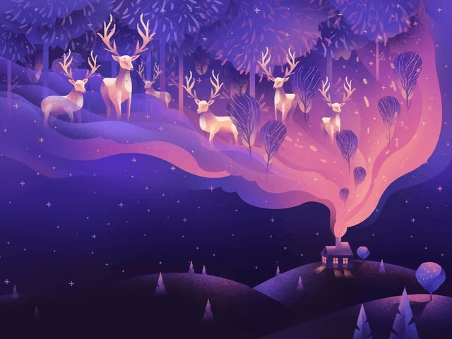 Good night hello cure illustration, Healing, Good Night, Deer illustration image
